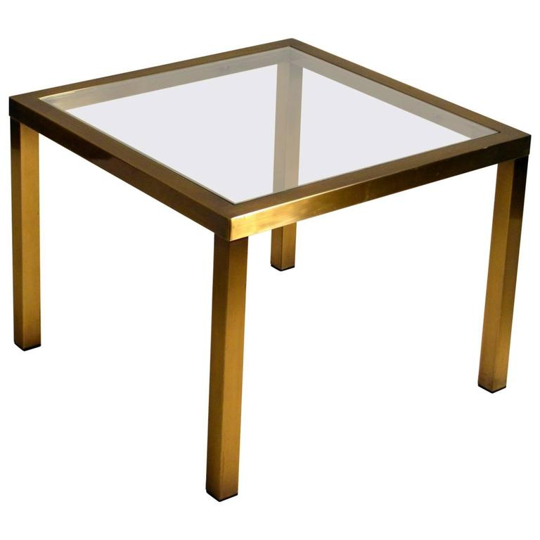 1970s Minimal Square Brass Coffee Table with Clear Glass Top
