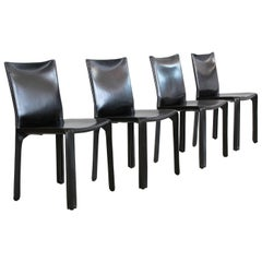 Black Leather 'CAB' Chairs by Mario Bellini for Cassina