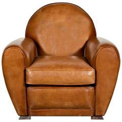 French Art Deco Childu0027s Leather Club Chair
