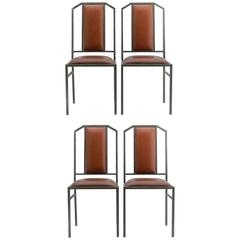 Four Maison Jansen Dining Chairs Leather Brushed Metal French, circa 1970