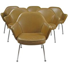 Set of Six Vintage Leather Dining Chairs by Saarinen for Knoll