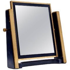 Italian Brass and Wood Table Mirror