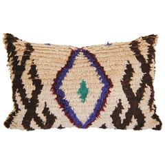 Custom Pillow Cut from a Vintage Hand Loomed Wool Moroccan Boujad Rug