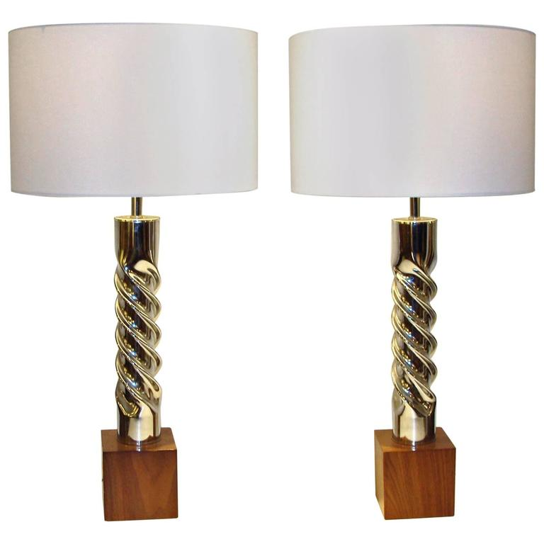 """Pair of Mid-Century Chrome """"Twist"""" Table Lamps"""