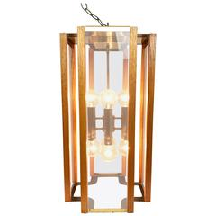 Mid-Century Frederick Ramond Brass and Oak Pendant