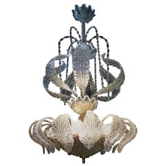 """Mid-Century Modern Chandelier in Murano Glass by Barovier Toso """"Waterfall"""" Style"""