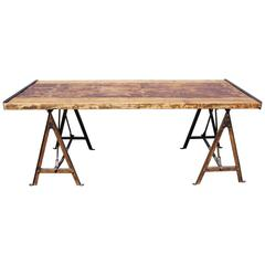 Industrial Table on Saw-Horse Legs