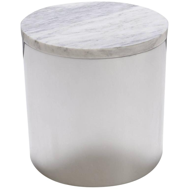 Marble and Steel Drum Accent Table by Paul Mayen for Habitat For Sale