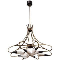 Curvilinear Italian Stilnovo Eight-Light Chandelier