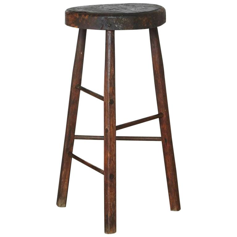 Three Legged Stool ~ Late th century primitive rustic three legged stool for