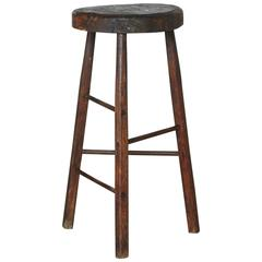 Late 19th Century Primitive Rustic Three Legged Stool