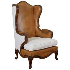 Spanish Rococo Style Walnut, Leather, and Linen Upholstered Bergère