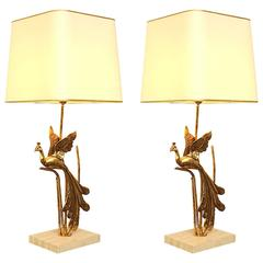 Large Pair of Maison Jansen style Gilt Metal Peacock on Travertine Table Lamp