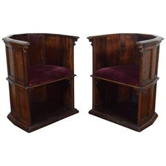 "Rare Pair Italian Walnut Late Renaissance ""Scranni"" Chairs , 16th Century"