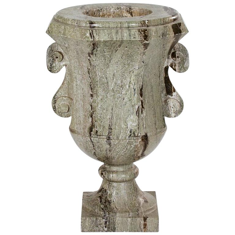 Large Swedish Green Marble Urn For Sale
