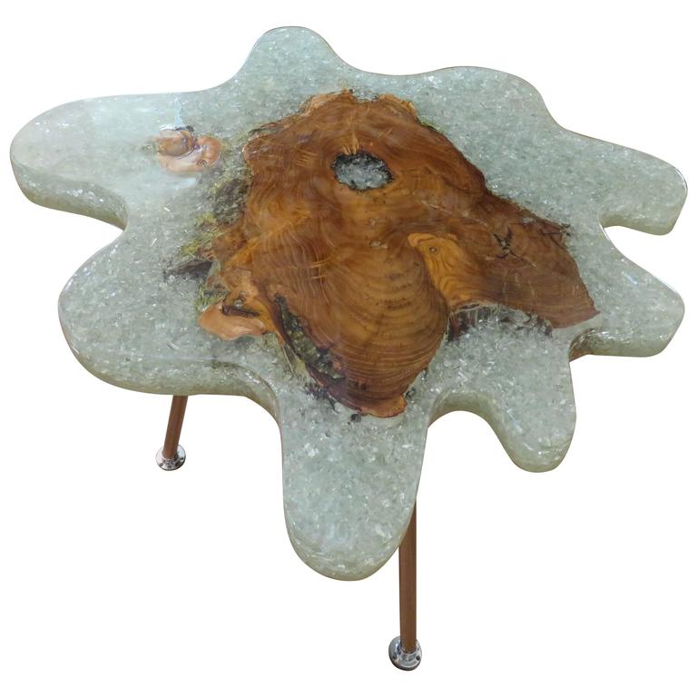 Cracked Resin & Natural Apple Wood, Crystallized Side Table or Coffee Table For Sale