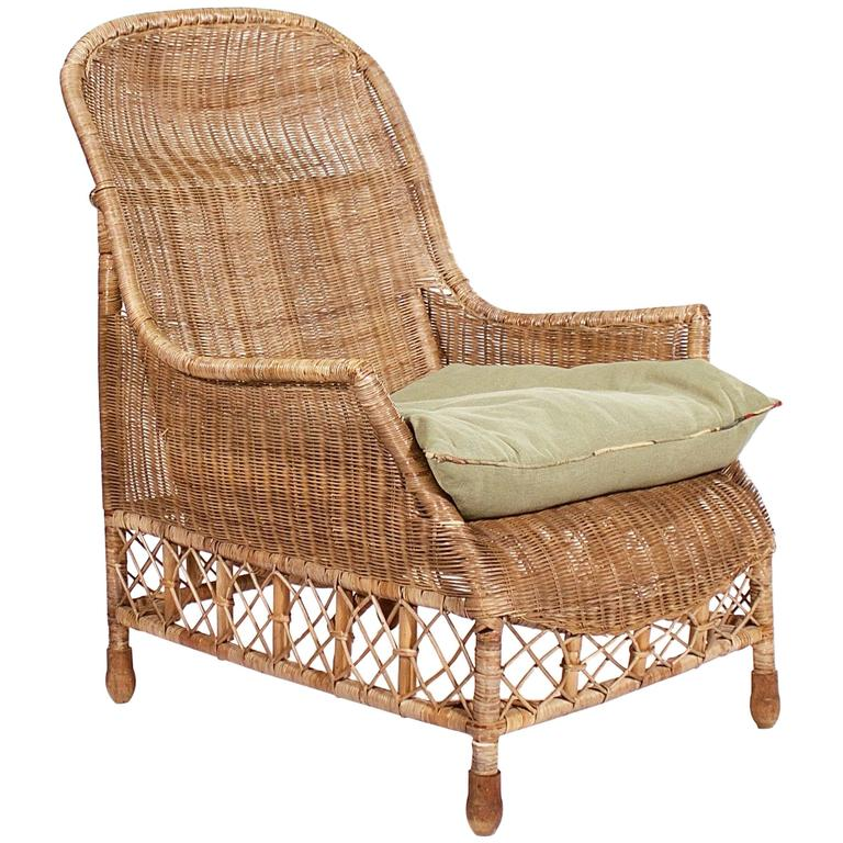Large wicker and cane armchair, 1930s