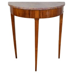 Italian, Tuscan, Neoclassic Cherrywood and Marble-Top Tall Console,circa 1830