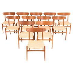 Hans J. Wegner Set of 12 Oak Dining Chairs