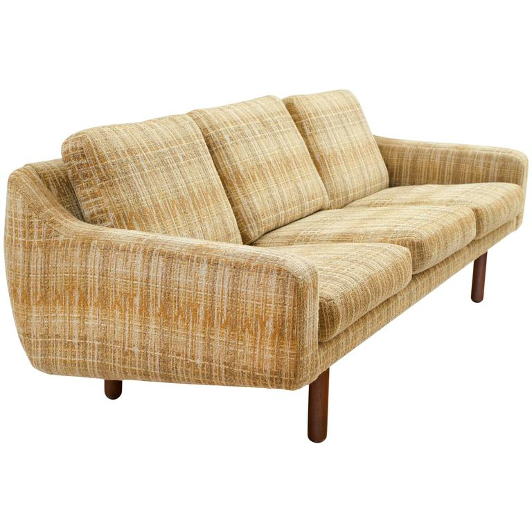 Scandinavian Modern Low Profile Sofa With Teak Legs For Sale