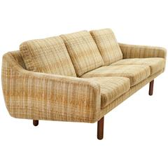 Scandinavian Modern Low-Profile Sofa with Teak Legs