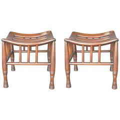 Pair of Wooden Thebes Stools