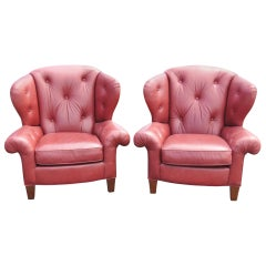 Pair of Red Leather Tufted Club Chairs