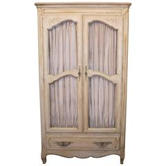 Louis XV Style French Painted Armoire with Built-In Drawers