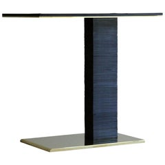 Cantilever Infinity Side Table in stacked leather & solid brass by KREILING