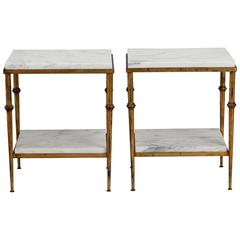 Pair of Spanish Gilt Metal and White Marble Side Tables