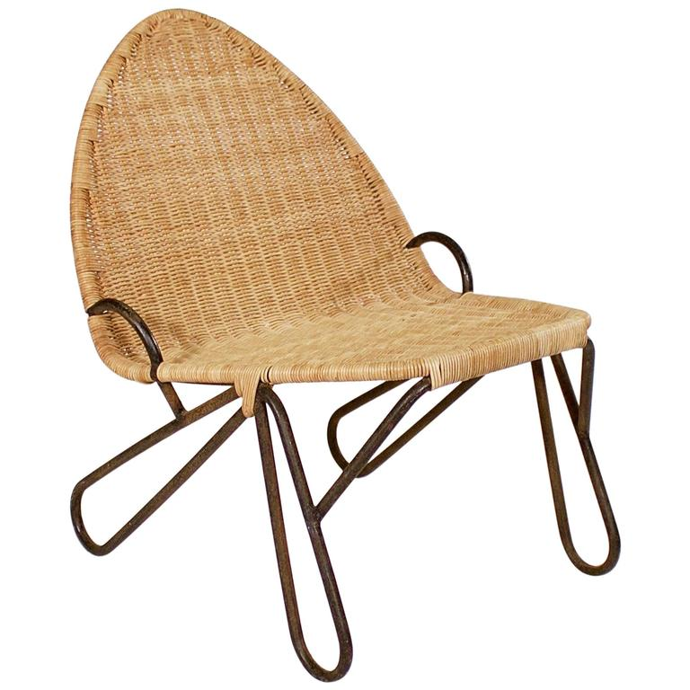 Iron and Wicker Low Occasional Chair