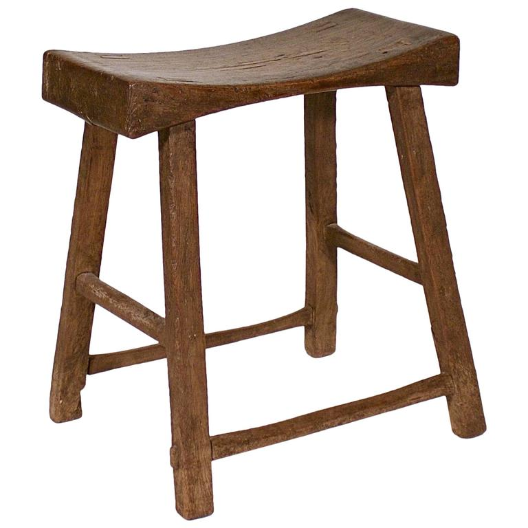 Jumu Wood Dished Top Stool At 1stdibs