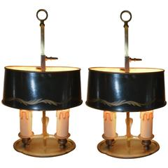 Pair of Charming French Small Bouillotte Table Lamps