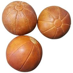 Set of Three Vintage Leather Medicine Balls