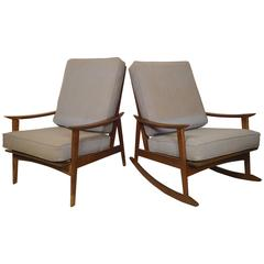 Mid-Century Modern Rocking Chair and Armchair