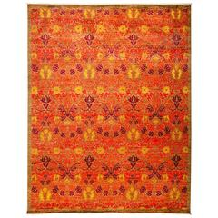 Orange Arts & Crafts Area Rug