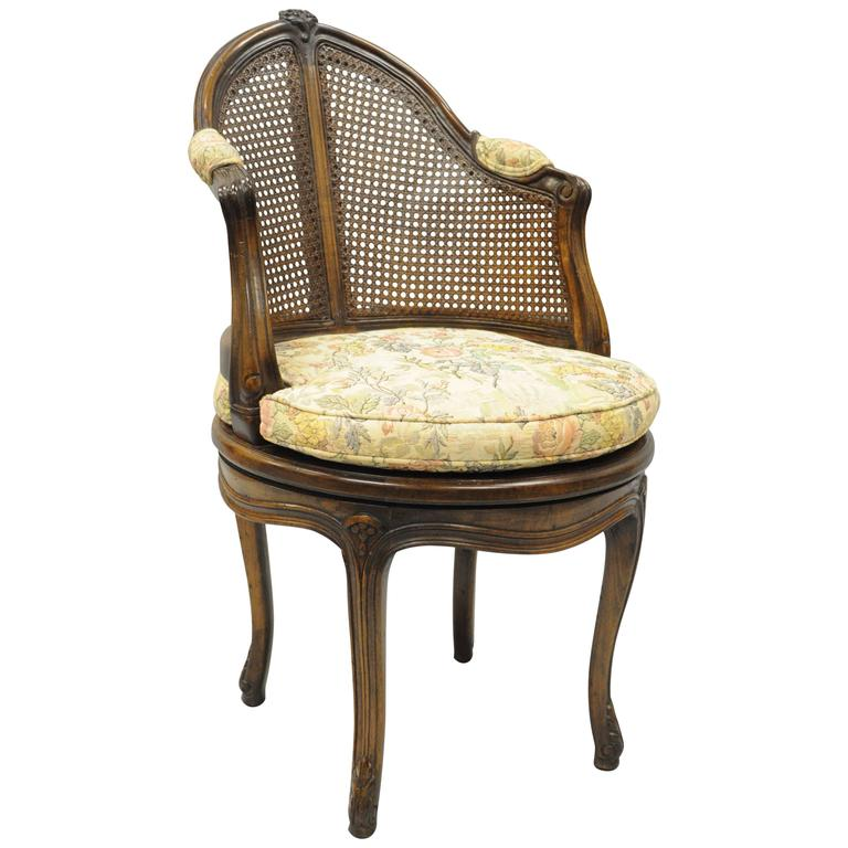 French Country Louis XV Style Swivel Vanity Chair Cane Back Boudoir Seat  Walnut For Sale