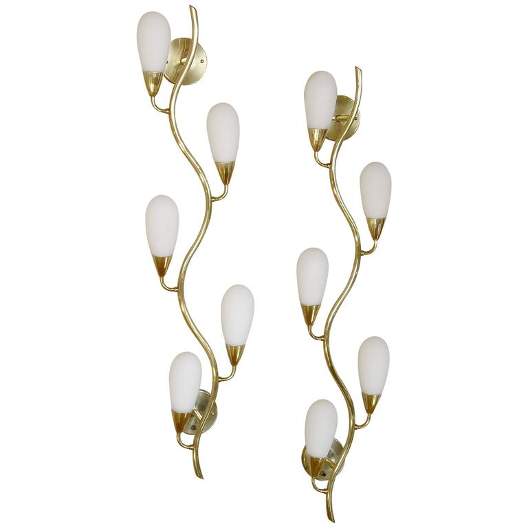 Pair of Brass and Glass Flora Form Wall Lamps 1