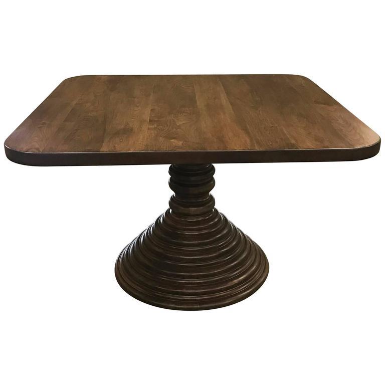 Genial Dos Gallos Custom Walnut Square Top Pedestal Table For Sale