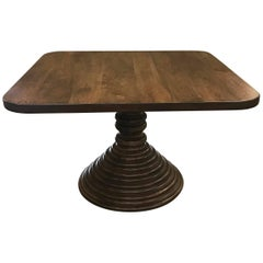 Dos Gallos Custom Walnut Square Top Pedestal Table