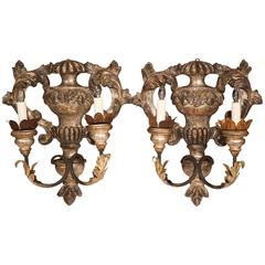 Pair of Italian Hand-Carved Silver Leaf Two-Light Sconces with Metal Arms