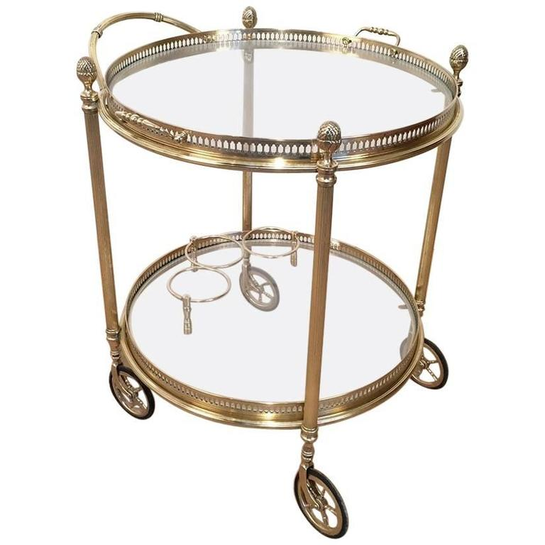 Small French Round Brass Bar Cart At 1stdibs