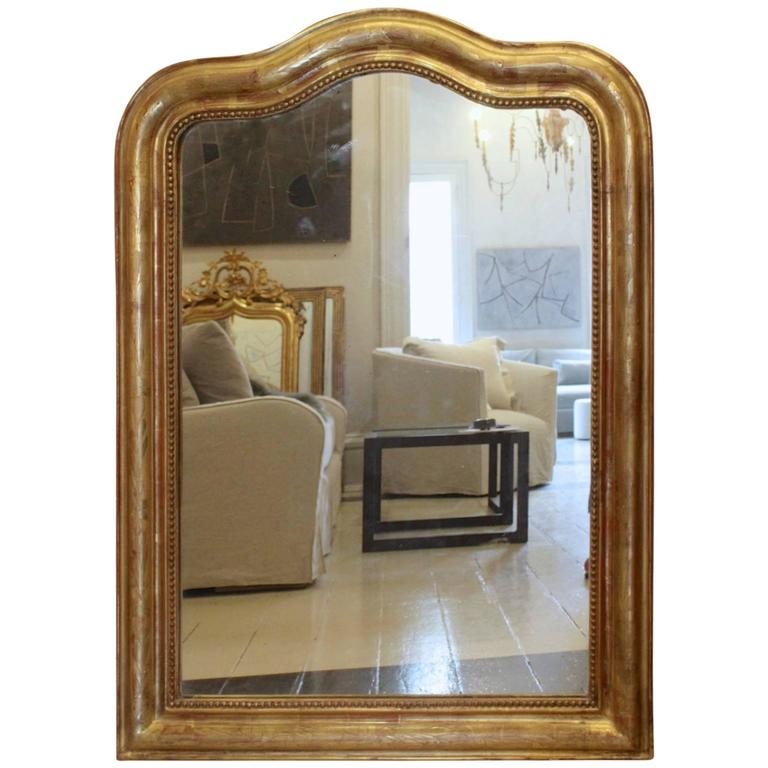 Antique French 19th Century Gilded Louis Philippe Mirror with Rare Curved Top