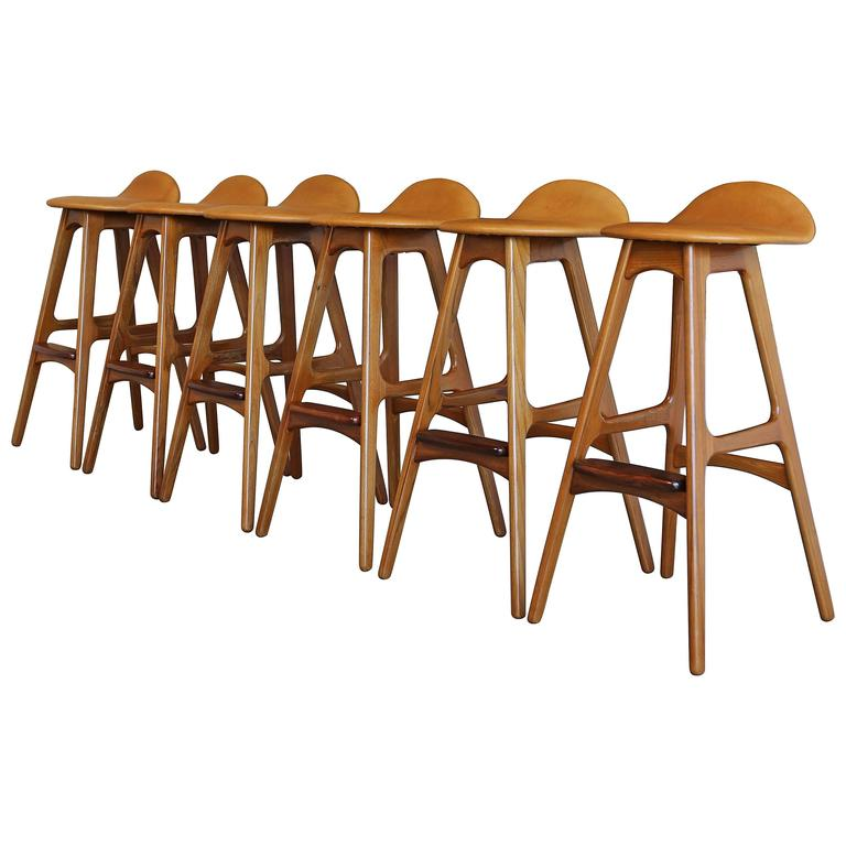 Set Of Six Barstools By Erik Buch At 1stdibs