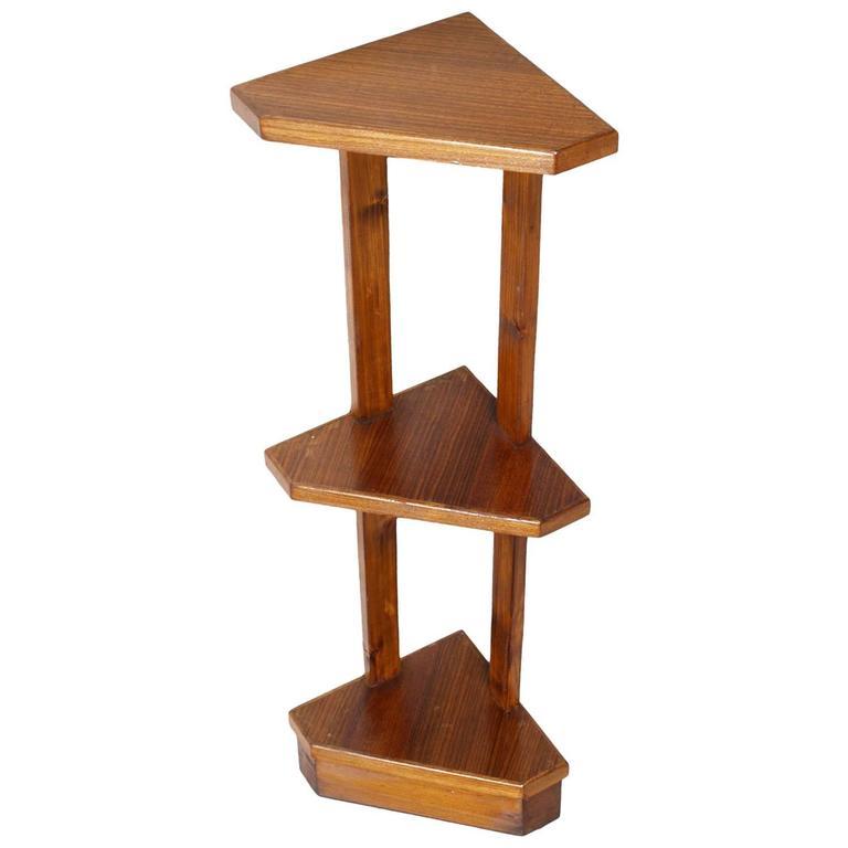 Mid century modern art deco oak corner shelves etagere for Modern corner bookshelf