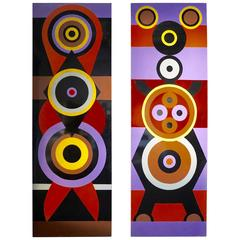 Pair of Tall 1970s Pop Art Paintings