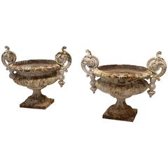 Pair of Antique French 19th Century Cast Iron Urns