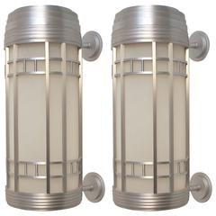 Large Streamlined Moderne Light Fixtures Sconces, American Mid 20th Century