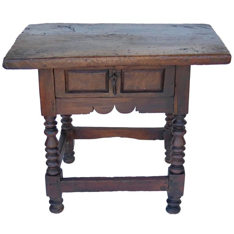 17th century baroque walnut spanish side table haskell for Table in spanish
