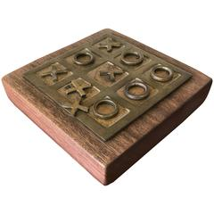 Handmade Brass and Wood Tic Tac Toe Game